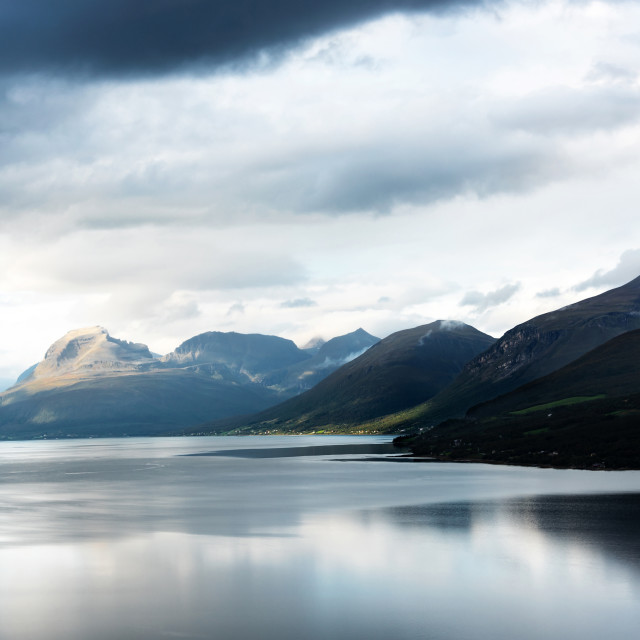 """Mountains by the fjord"" stock image"
