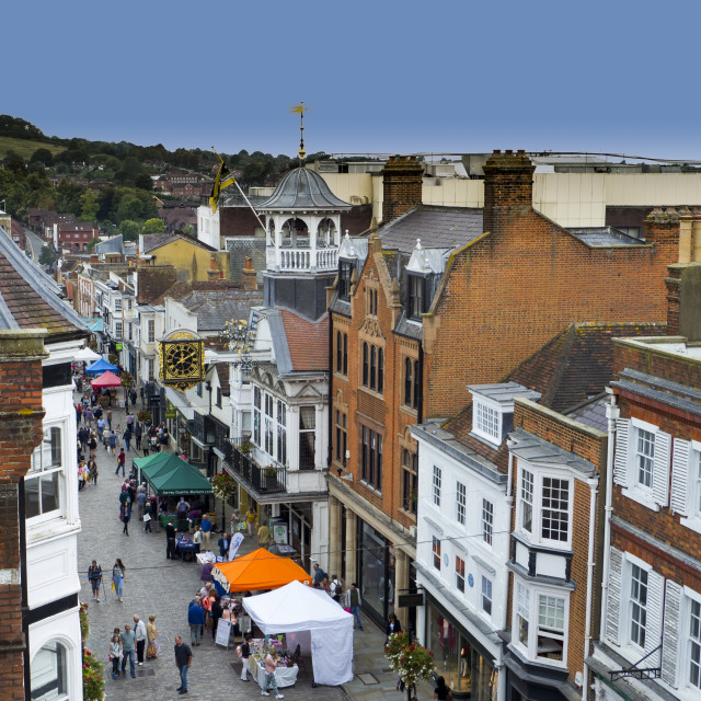 """Guildford High Street Farmers Market"" stock image"