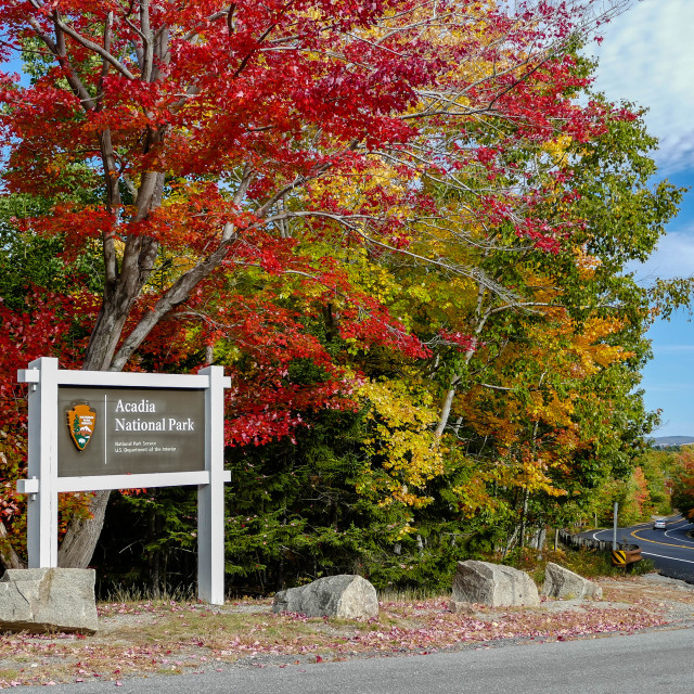 """""""Acadia National Park sign"""" stock image"""