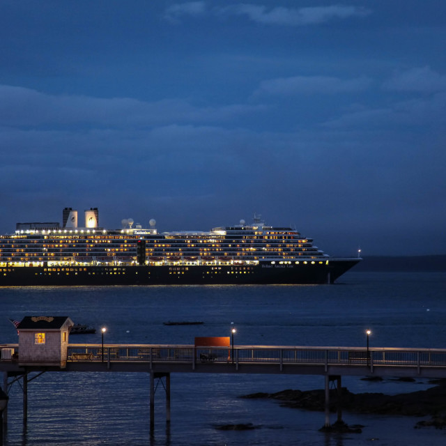 """""""Bar Harbor, Maine, USA. October 13, 2016. Bar Harbor with cruise ship Zuiderdam from Holland American Line with lights on in Bar Harbor on October 13, 2016"""" stock image"""