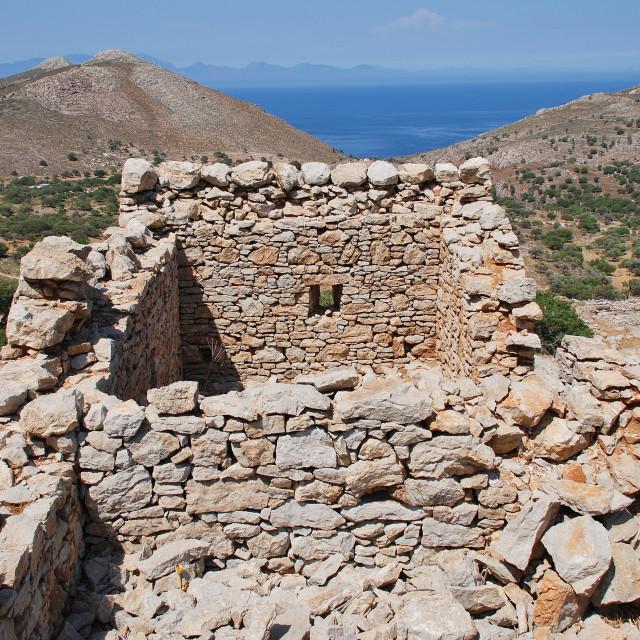 """Village ruins, Tilos island"" stock image"