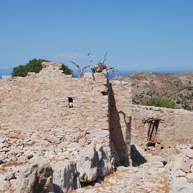 """Ruined village, Tilos"" stock image"