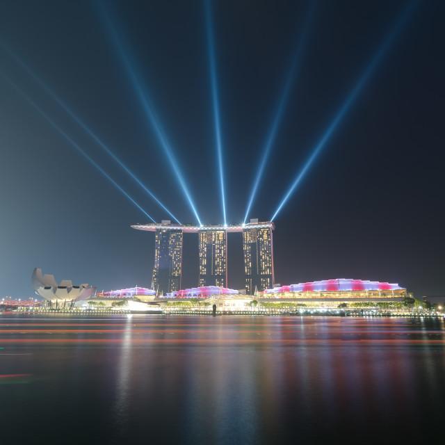 """Qualifying Night spot light with light trails"" stock image"