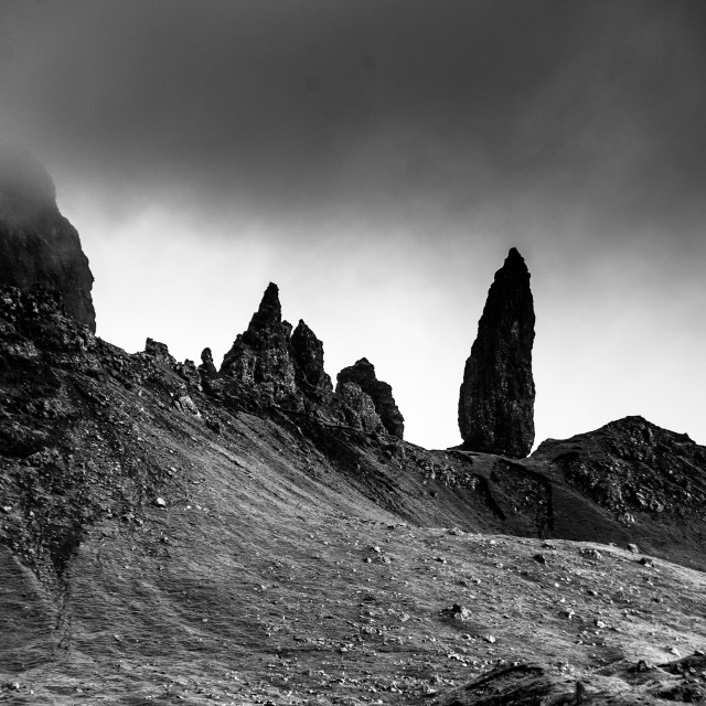 """Old Man of Storr black and white"" stock image"