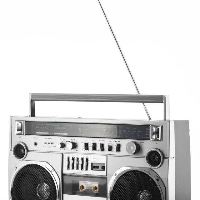 """1980s Silver retro radio boom box with antenna up isolated on wh"" stock image"