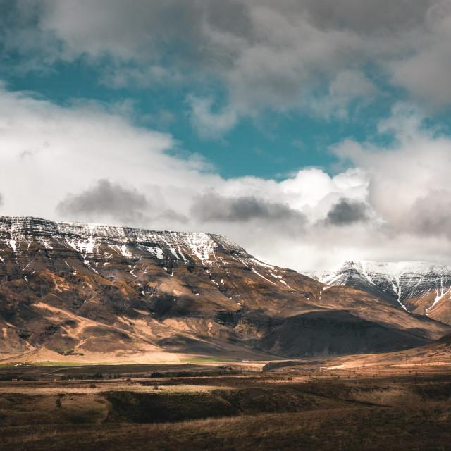 """snowy mountain peaks"" stock image"