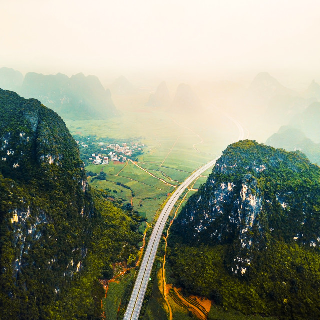 """""""Aerial photo of mountains and highway in China"""" stock image"""