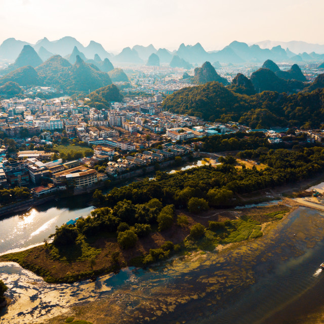 """""""Guilin aerial view with Li river and stunning rock formations in China"""" stock image"""