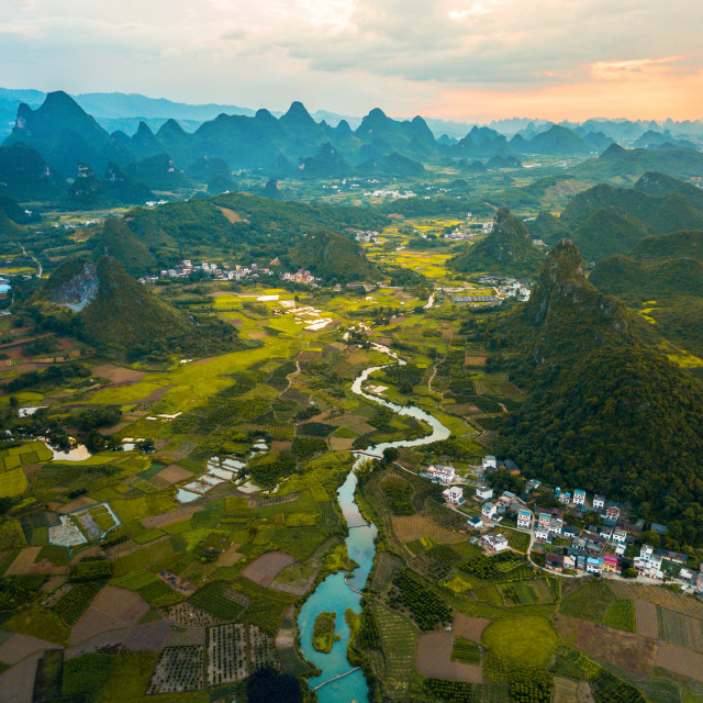 """Yangshuo rice fields in China aerial view"" stock image"