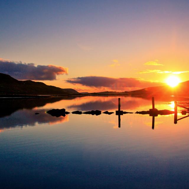 """Sunset From Tingwall Loch, Shetland."" stock image"