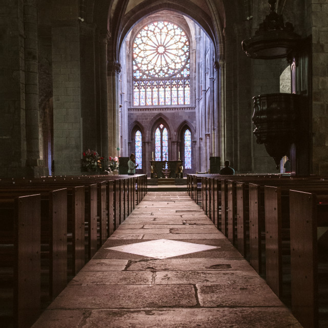 """the aisle leading to the altar in a cathedral in france"" stock image"