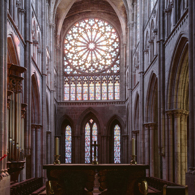 """The interior of a cathedral in france showing the stained glass and architecture"" stock image"