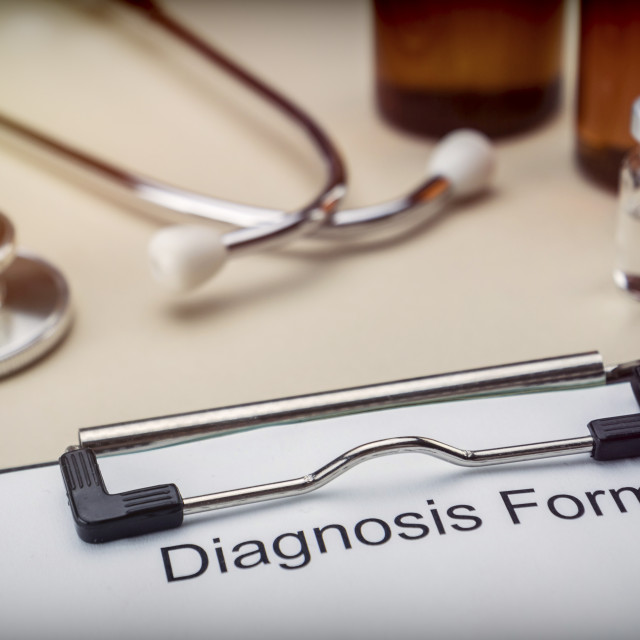 """""""Diagnostic form in hospital, conceptual image"""" stock image"""