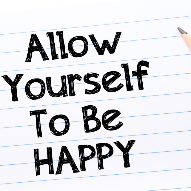 """""""Allow Yourself To Be Happy Text written on notebook page"""" stock image"""