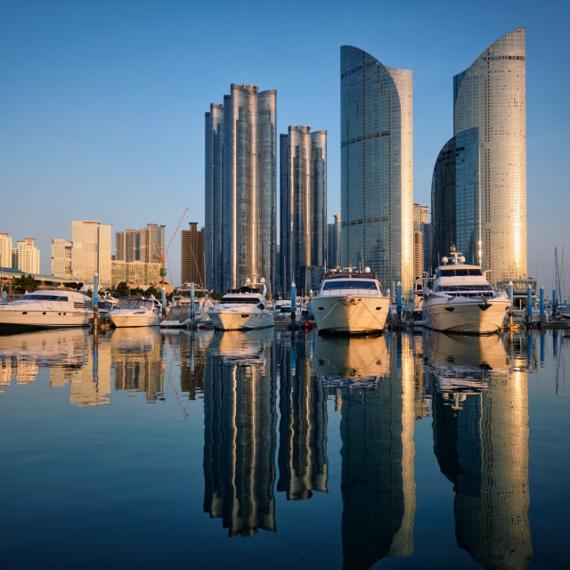 """Busan marina with yachts on sunset, South Korea"" stock image"