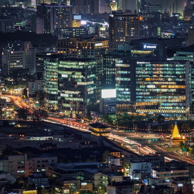 """Seoul skyscrapers in the night, South Korea."" stock image"