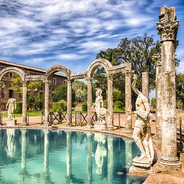 """""""The Canopus, ancient pool in Villa Adriana, Tivoli, Italy"""" stock image"""