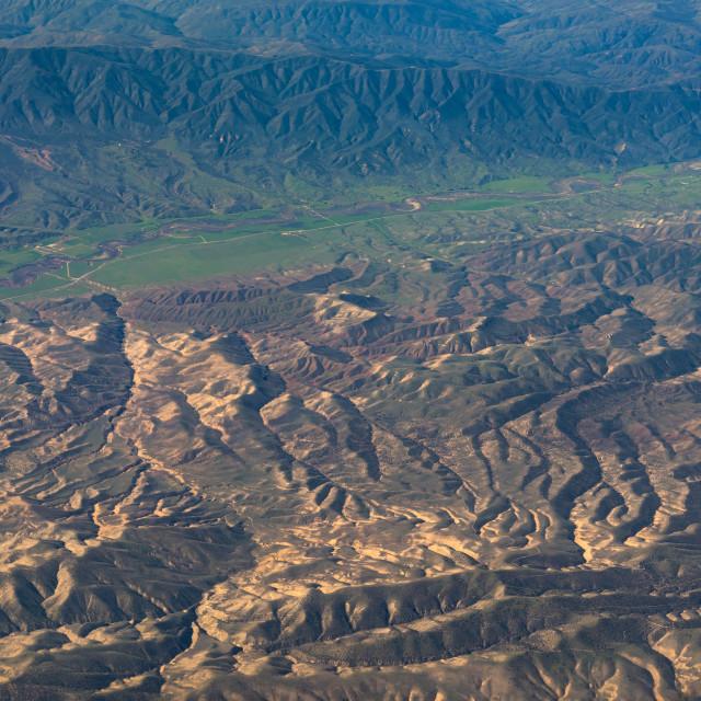 """aerial view of California San Andreas"" stock image"