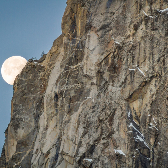 """Moon setting in Yosemite National Park"" stock image"