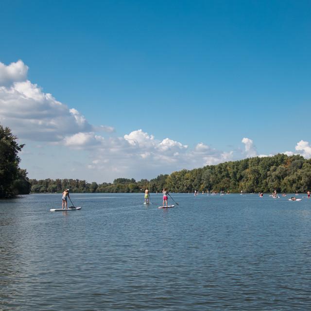 """""""Tisza lake SUP"""" stock image"""