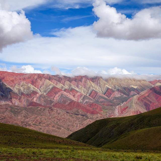 """Serranias del Hornocal, colored mountains, Argentina"" stock image"
