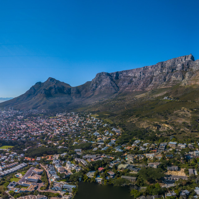 """""""Panoramic aerial images of Table Mountain and other mountain peaks in the vicinity"""" stock image"""