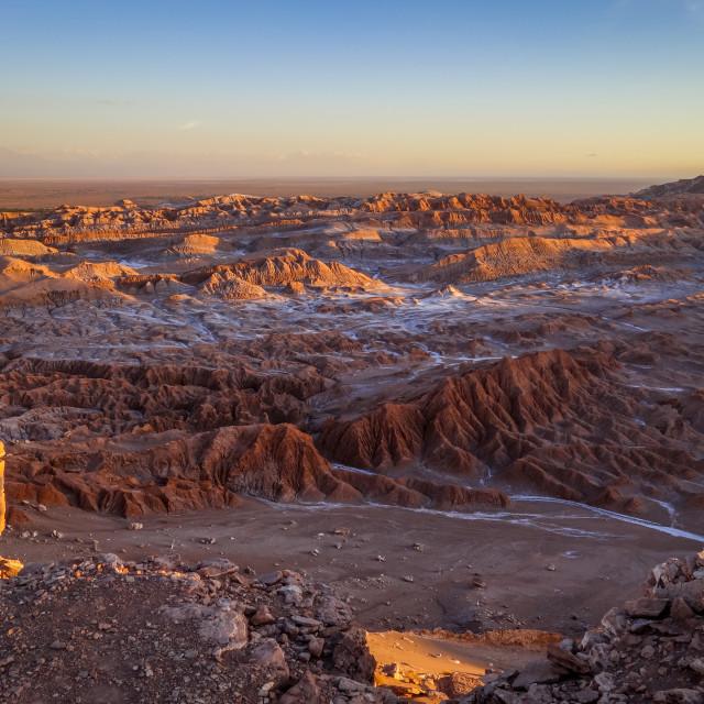 """Valle de la Luna at sunset in San Pedro de Atacama, Chile"" stock image"