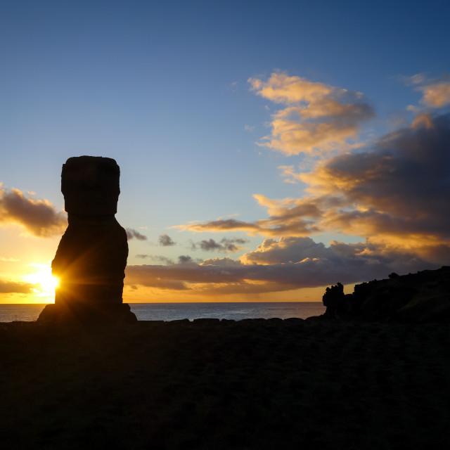 """Moai statue ahu akapu at sunset, easter island"" stock image"