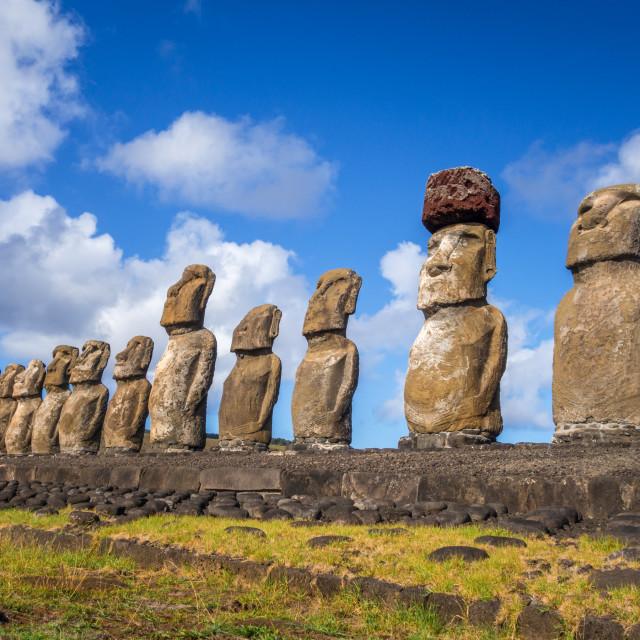"""Moais statues, ahu Tongariki, easter island"" stock image"