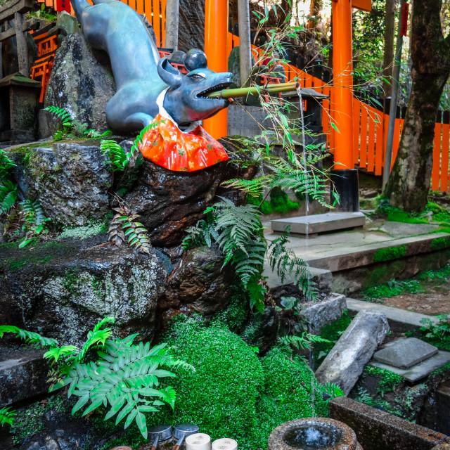 """""""Fox purification fountain at Fushimi Inari Taisha, Kyoto, Japan"""" stock image"""