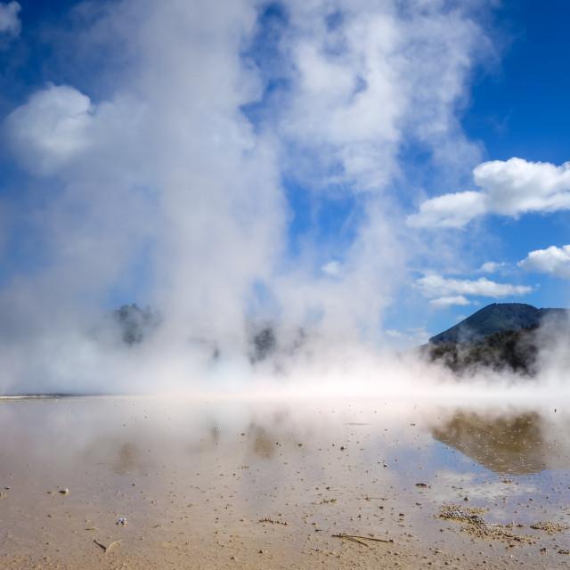 """Steaming lake in Waiotapu, Rotorua, New Zealand"" stock image"