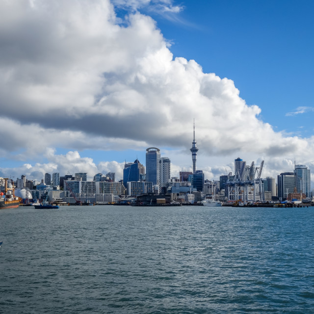 """""""Auckland view from the sea and sailing ship, New Zealand"""" stock image"""