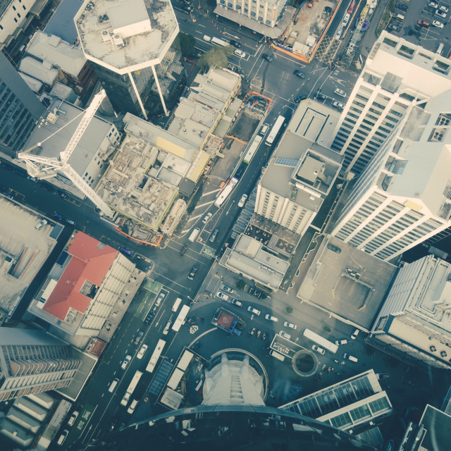 """""""Auckland buildings aerial view, New Zealand"""" stock image"""