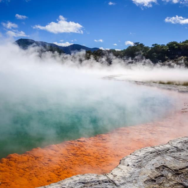 """Champagne Pool hot lake in Waiotapu, Rotorua, New Zealand"" stock image"