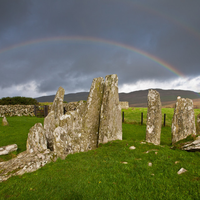"""""""Rainbow Over Cairn Holy 1"""" stock image"""