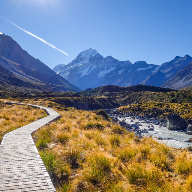 """Hooker Valley Track, Aoraki Mount Cook, New Zealand"" stock image"