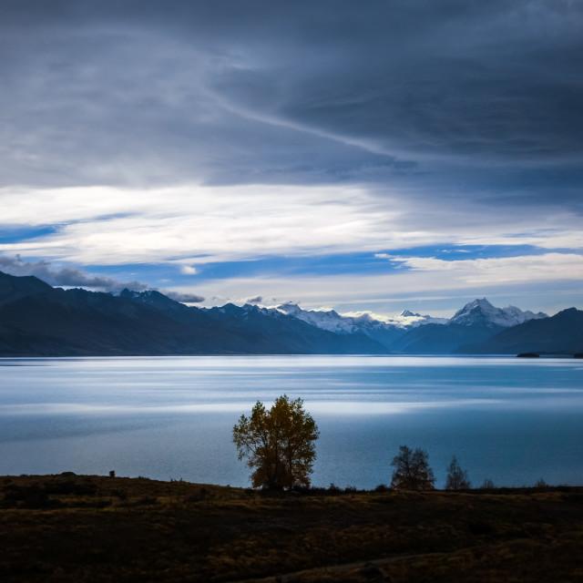 """""""Pukaki lake at sunset, Mount Cook, New Zealand"""" stock image"""