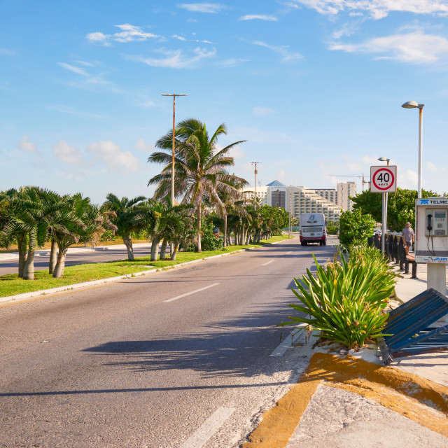 """Boulevard Kukulcan in frot the Playa Delfines, Candun, Mexico, in September 7, 2018"" stock image"