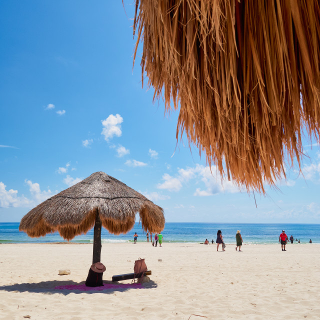 """Parasol in exotic Caribbean beach"" stock image"
