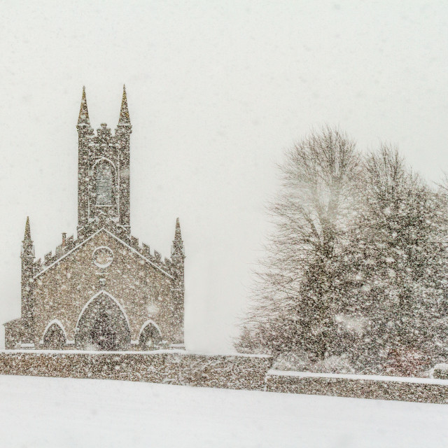 """""""A church in a blizzard"""" stock image"""