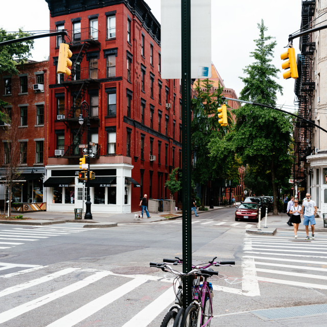 """Bicycles parked in crossing at Greenwich Village in New York"" stock image"