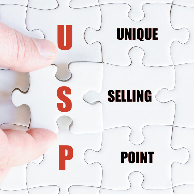 """""""Last puzzle piece with Business Acronym USP"""" stock image"""