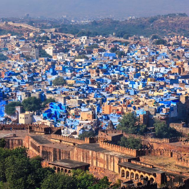 """Aerial view of Jodhpur Blue City. Jodphur, Rajasthan, India"" stock image"
