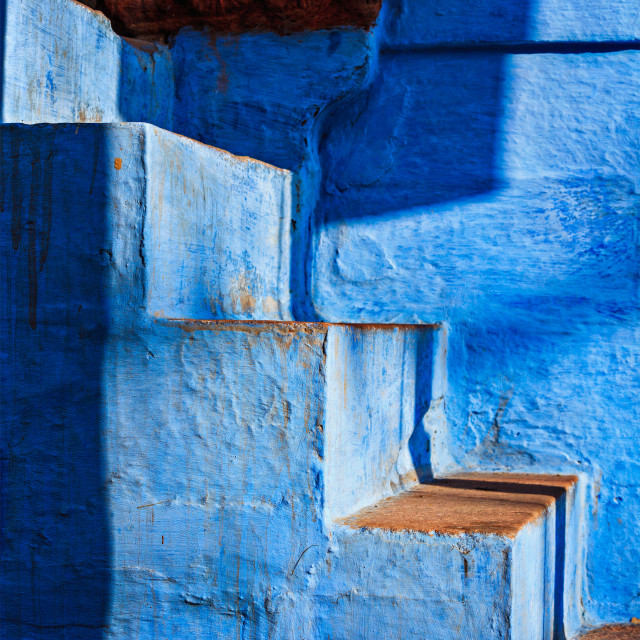 """""""Stairs of blue painted house in Jodhpur, also known as """"Blue Cit"""" stock image"""