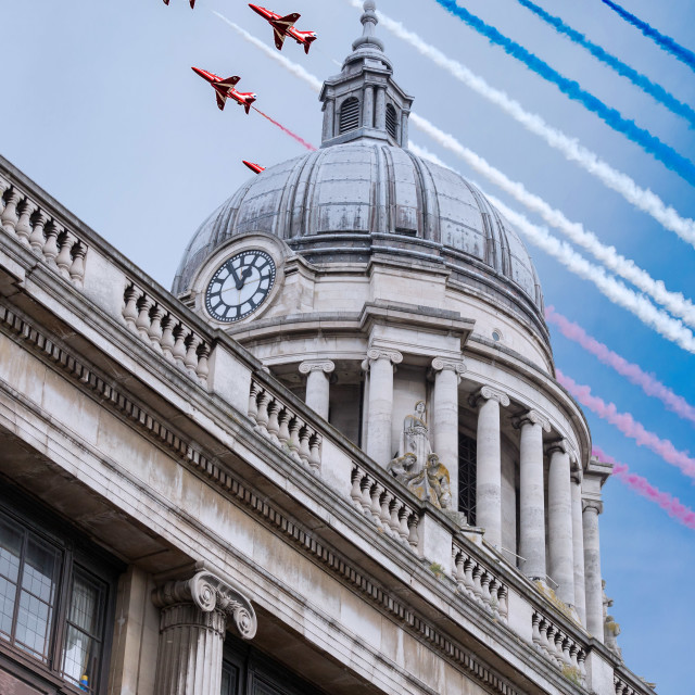 """Nottingham Council House and Red Arrows Flypast"" stock image"