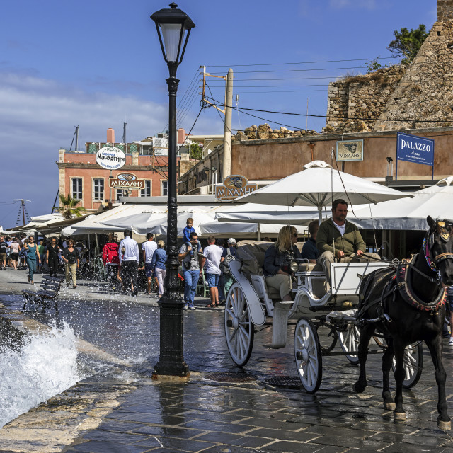 """Horse and Cart in Old Chania, Crete."" stock image"