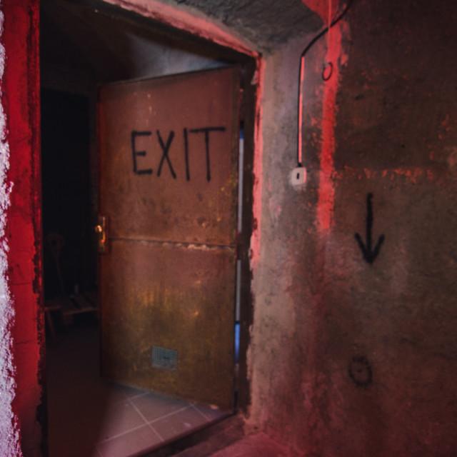 """""""Old rusty EXIT door"""" stock image"""