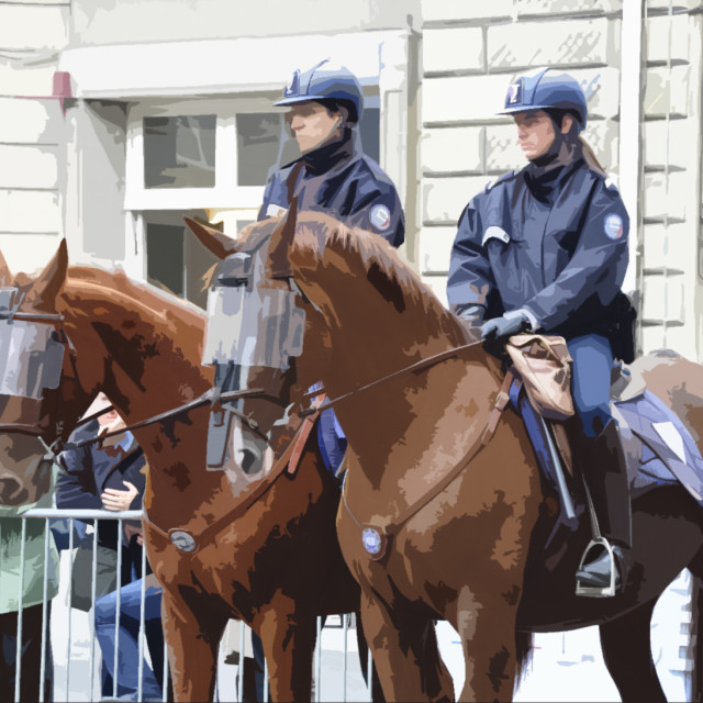 """""""French police officers ride horses"""" stock image"""