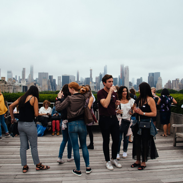 """Young people on rooftop of Metropolitan museum in New York"" stock image"