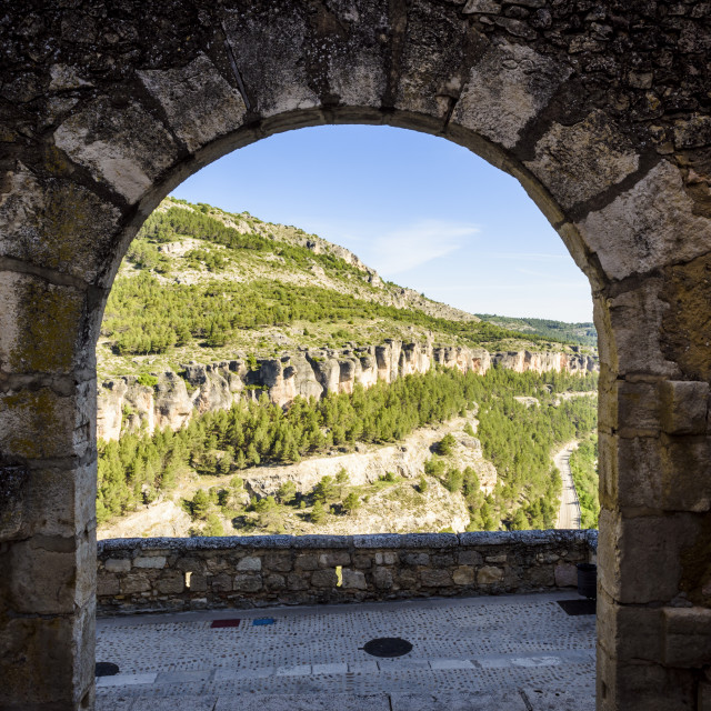 """Framed views of the Jucar Gorge in Cuenca"" stock image"